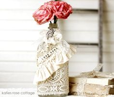 Vintage Lace Embellished Bottle #DIY #Howto #Doityourself #love #like #awesome