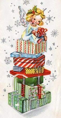 christmas cards, christma card, angel sit, vintage christmas, vintag christma, christma vintag, vintag card, christmas angels, christma angel
