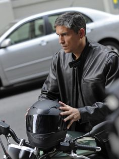 """yowza. yes, i am having a fangirl moment. jim caviezel on """"person of interest"""" is a pure leather-clad indulgence (from: cbs.com)"""
