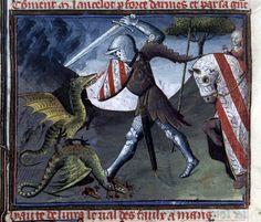 Lancelot-Graal avec interpolation du Perlesvaus  Lancelot combattant les dragons du Val sans retour  Paris, vers 1404 et vers 1460  Parchemin, III-154-III f. (2 col.), 490 x 340 mm  Provenance : Jean, duc de Berry († 1416) ; Jacques d'Armagnac, duc de Nemours († 1477) ; présent dans la Bibliothèque du roi sous François Ier  BnF, Manuscrits, français 118 [série français 117-120] fol.
