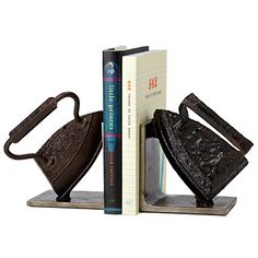 VINTAGE IRON BOOKENDS! Try making these from old irons.