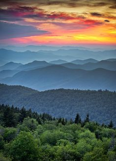 "Blue Ridge Parkway Sunset by Dave Allen. ""A stunning sunset overlooking the Great Smoky Mountains National Park from the Blue Ridge Parkway in Western North Carolina on a gorgeous summer evening."""