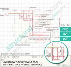 Structuraldetails store catalogue on pinterest load bearing wall columns and beams for Swimming pool overflow detail dwg