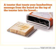 Toaster with handwritten message.