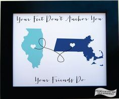 Personalized Gift for Best Friends: Long Distance Hometowns Map Art Dorm Pen Pals Friends Forever Christmas Gift Print Home Decor Wall Art