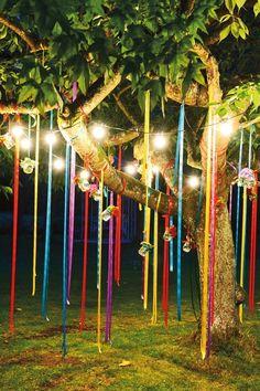 outdoor decorations, idea, tree, ribbon, night time, mason jars, outdoor weddings, party lights, parti
