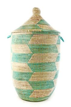Large Senegalese Lidded Basket/Hamper - Aqua
