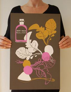 radish salad hand screen print by the amazing claudia pearson!