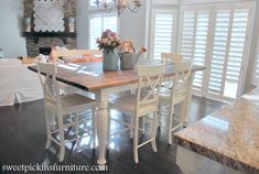 Sweet Pickins - Make a table top... a how to using stock lumber and how to finish it using steel wool to stain the wood, some distressing.   A before and after of the dining room table that used to be black..