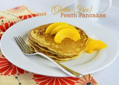 Try these #glutenfree peach pancakes and watch them disappear!!! via @musingsofahousewife.com #breakfast #pancakes #recipe