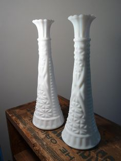 Pair of Two Tall Milk Glass Vases by Anchor Hocking, $11.00 #milkglass #vase #white #shabby #chic #vintage #etsy #wedding