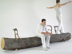 Tree-trunk bench. I would never pay the absurd price listed at Droog for just the chair backs, but this would be an interesting DIY project.