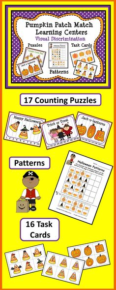 Pumpkin Patch Match Learning Centers:  Visual Discrimination (17 Counting Puzzles Patterns and 16 Task Cards)