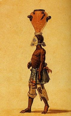 Slave wearing a tin mask while working. Water color by Jean Baptiste Debret