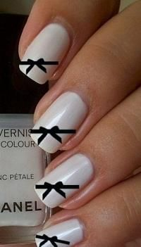#Chanel inspired nails. #bows #black #white #nails #art