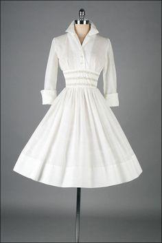 Vintage 1950s Cotton Shirtwaist Dress With French Cuffs