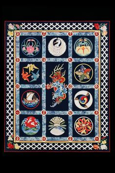 """""""Baltimore Goes to Japan"""" quilt by Georgia Spalding Pierce.  Featured at Machine Quilting Magazine, July/Aug 2014"""