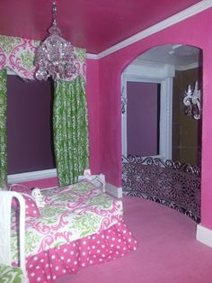 Custom Designed Barbie House!  Kelly's room has an arched opening overlooking the entry.  Silver ornate railing curves around the balcony!