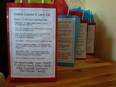 AWANA Teachers Survival Kit- love this!  Thanks for sharing!