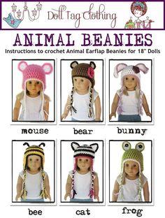 "PDF Crochet Pattern - 18"" Dolls - Animal Beanies - Lots of variations. $3.99, via Etsy."