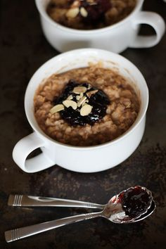 Baked Peanut Butter and Jelly Oatmeal via Honest Cooking