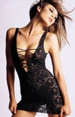 Black stretch lace, halter top chemise with lace-up front detail, V- shaped bust; this style brings you complete sexy way. Matching thong included.