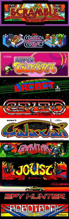 some classic arcade marquees