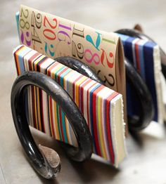 Use an old spring to organize papers and mail.