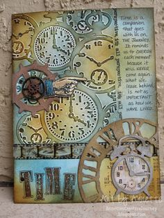 art journal, alarm clocks, journal pages, tag, pocket watches, annett creativ, tim holts cards, creativ journey, man card