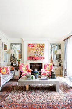 Kit Kemp Colour Schemes - Living Room Design Ideas & Pictures (houseandgarden.co.uk) tapete