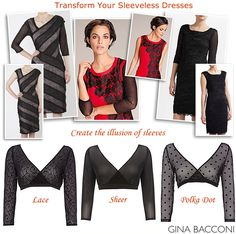 Transform Sleeveless Dresses with Gina Bacconi Sheer Lace Mesh Sleeves Pull-on tops