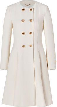 Moschino Virgin Wool Pleated Coat white coat, pleat coat