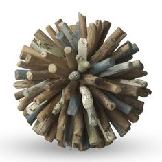 A driftwood sphere accent for tabletops.