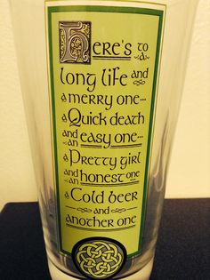 Celtic sayings drinking glass.