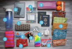 Healthy Travel Tips: What's in My Carry-On. Also good things to carry in your backpack everyday on school(well besides the passport)