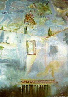 Gala en un patio observando el cielo.- Dalí