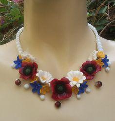 Poppy necklacePoppy earrings Handmade jewelry  by insoujewelry