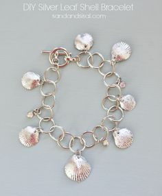 DIY Silver Leaf Shell Bracelet - Put your vacation shell collection to good use! Learn how to gild seashells and create a beautiful charm bracelet.
