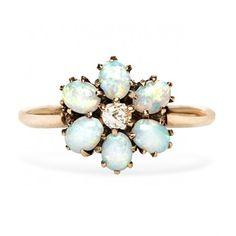 vintage opal flower ring / trumpet & horn