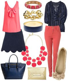 coral + navy blue outfits | spring color crush: round two // darlingnotes.blogspot.com #fashion