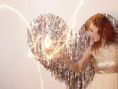 Photobooth Idea: Metallic Fringe Heart
