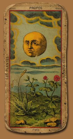 Les Plantes. French Tarot card with moon.