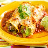 Avocado Enchiladas. From Fitness Magazine,  includes easy healthy, homemade, enchilada sauce.
