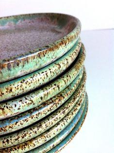 Wheel Thrown Handmade 8 Stoneware Plates  MADE TO by NewMoonStudio, $160.00