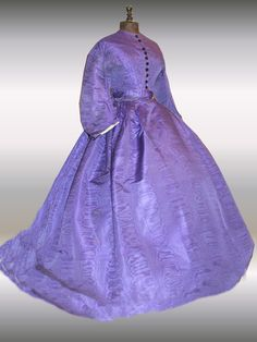 1860's civil war era purple French visiting dress with crinoline (side front view) | eBay