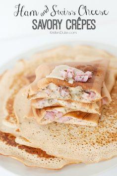 Ham and Swiss Cheese Savory Crepes at KristenDuke.com