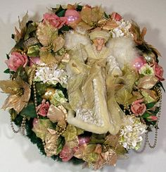 Christmas Angel Victorian Floral Wreath 'Behold' - Free USA Shipping