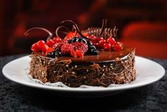 Berry Topped Chocolate Nest Cake