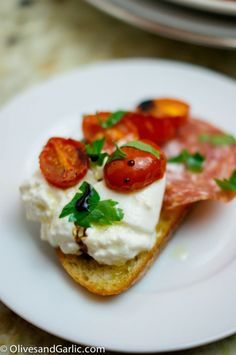 Burrata Toasts with Salami, Roasted Tomatoes & Balsamic Drizzle...I'm in heaven!
