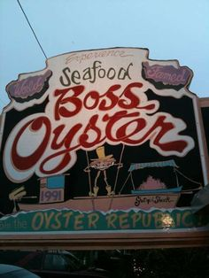 "Boss Oyster, Apalachicola, Fl-  A chilled oyster is a happy oyster, a happy oyster is a tasty oyster. The 'Boss' was selected as one of ""America's 50 Best Seafood Dives 2012"" by Coastal Living magazine, one of the ""Top 5 Waterfront Dining Spots"" in Florida..."